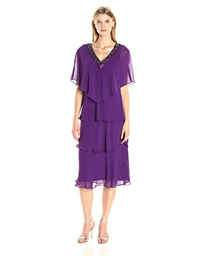 S.L. Fashions Women's V-Neck Jewel Trimmed Jacket with Multi Tiered Dress, Deep Orchid, 14