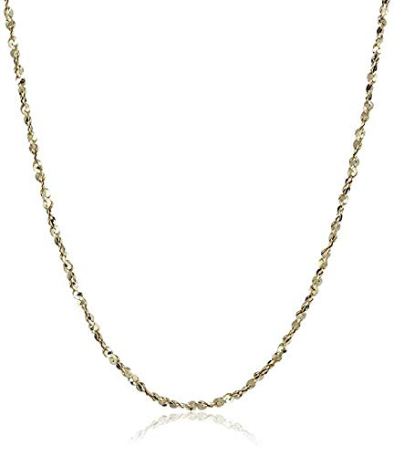 Gold Plated Sterling Silver 1.2mm Twisted Serpentine Chain Necklace, 18