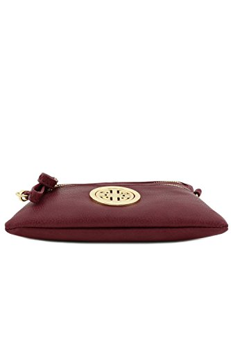 Multi Burgundy Wristlet Zipper Emblem Bag Pocket Crossbody with Small OaqORP
