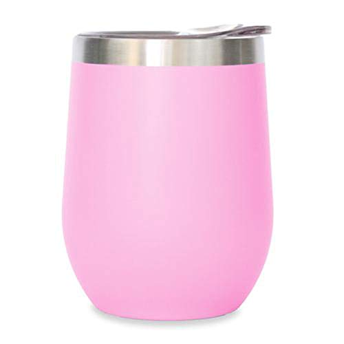 Ice Shaker Insulated Wine Tumbler With Lid - Stainless Steel Wine Glass - 12 oz Wine Tumbler Great For Hot Or Cold Beverages (Soft Pink)