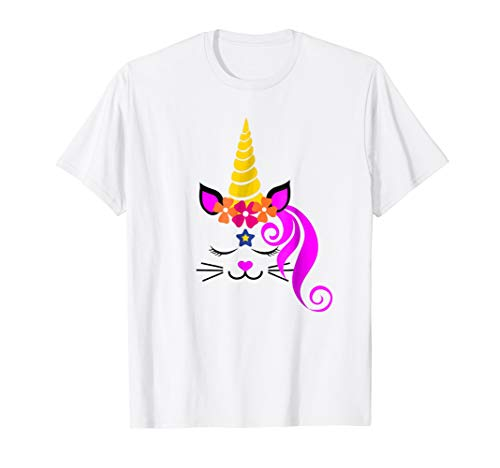 Kitty Unicorn Caticorn Face Kitten Tshirt | Cat Girls Gifts