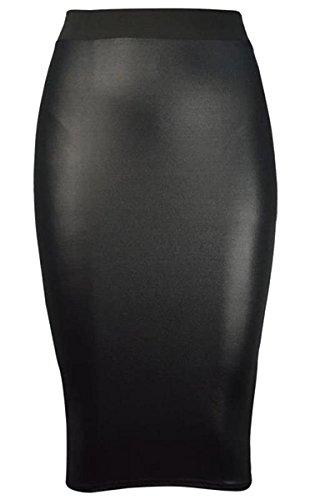 mouill pplum grande midirock Midi De dessus abgefackelt brillant noir ci skater taille XwIqBx6