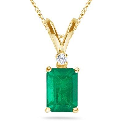 0.02 Cts Diamond & 0.20 Cts of 5x3 mm AA Emerald Cut Natural Emerald Pendant in 14K Yellow Gold (14k Aa Pendant Emerald Diamond)