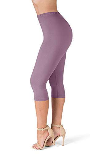 SATINA High Waisted Ultra Soft Capris Leggings - 20 Colors - Reg & Plus Size (One Size, Lavender)