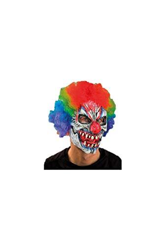 Zagone Funny Bones Mask, Clown Skull with rainbow wig -