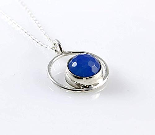 (Sterling Silver Round Pendant with Faceted Natural Holly Blue Agate 16 inches Chain (39)