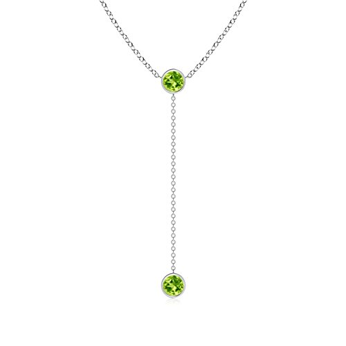 - Bezel-Set Round Peridot Lariat Style Necklace in Platinum (5mm Peridot)