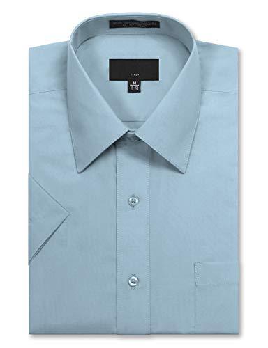 JD Apparel Men's Regular Fit Short Sleeve Dress Shirts 15-15.5N Medium Light Blue