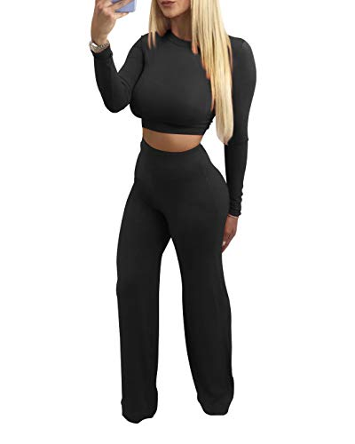 SINRGAN Women's Sexy Casual Two Piece Outfits Jumpsuit Romper Long Sleeves Crop Top Pants Set Black
