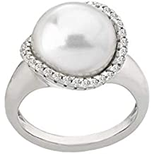 Majorica Womens Rosa 12mm White Flat Pearl w/CZ Ring On Sterling Silver