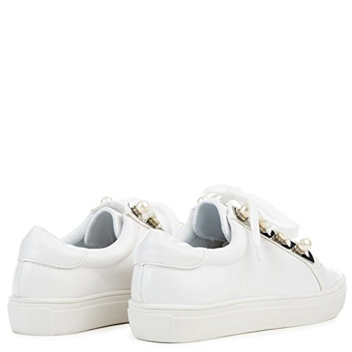 Cape Robbin Gwen-3 Lace Up Athletic Dance Walking Fashion Pearl White Sneaker j6UuOi9