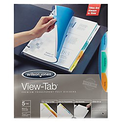 View Tab Professional Notebook (Wilson Jones 55565 View-Tab Transparent Index Dividers, 5-Tab, Rectangle, Letter, Assorted (Box of 5 Sets))