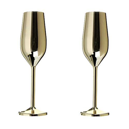 Toasting Goblets Wedding - Denzar 2Pcs Toasting Champagne Cup,Party Wedding Decor Goblet Wine Glass Stainless Steel Stunning Glasses Gifts,Supplied in an Attractive Gift Box (A)