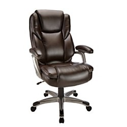 Bonded Leather Chair - Realspace(R) Cressfield High-Back Bonded Leather Chair, Brown/Silver