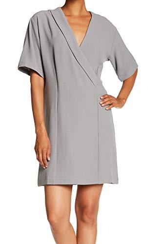 - Bobeau Women's Small Crepe V-Neck Seamed Shift Dress Gray S