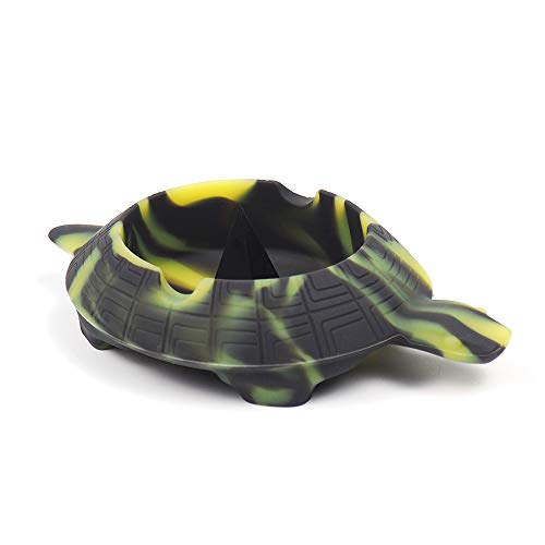 X-Value Black/Yellow Silicone Turtle Shape Ashtray Unbreakable Decorative Crafts Tray Colorful Holder for Cigarette/Cigar/cigarillos ()