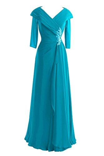 Le Cou Des Femmes De Mariée Bess V 3/4 Manches Longues Mère Formelle Du Jade Robes De Mariée
