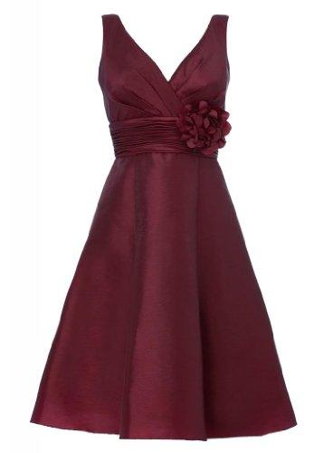 Strap Blumen Kurze Abendkleid Schoene Teil Taft GEORGE Kleid tief Wein mit mit V BRIDE made Ausschnitt Hand qgFxB1