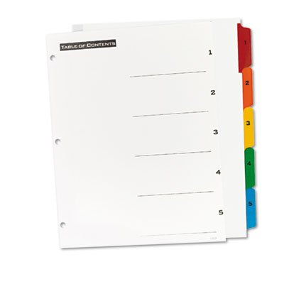 Office Essentials Table 'N Tabs Dividers, Five Multicolor Tabs, 1-5, Letter, Set, Total 36 ST, Sold as 1 Carton