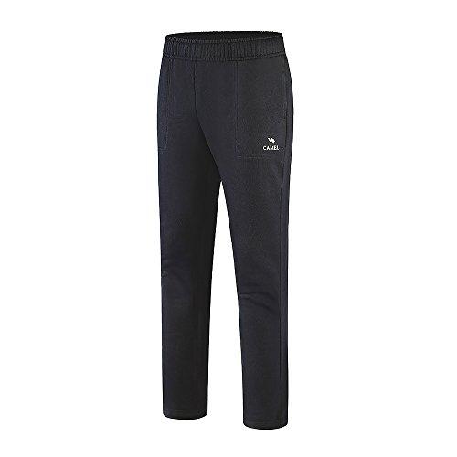 4 Season Pants - Camel Men's Open Bottom Sweatpants Jogging Pants With Pockets Lightweight Drawstring Running Pants Slim Fit For 4 Season(Black), Large