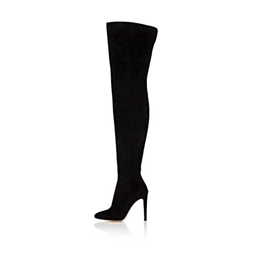 FSJ Women Chic Faux Suede Knee High Long Boots Pointed Toe Side Zipper High Heels Shoes Size 4-15 US Black hzFOobglcz