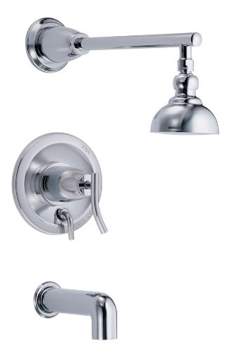 Danze D504054T Sonora Single Handle Tub and Shower Faucet Trim Kit with 4-Inch Showerhead, Chrome (Valve Not Included)