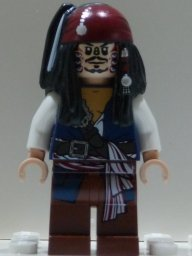 Jack Sparrow (Cannibal dual sided head) Lego from set #4182 Pirates of the Caribbean Minifigure (Cannibal Jack Caribbean)