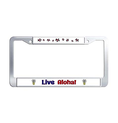 Nuoousol Live Aloha Car Licence Plate Covers, Custom Stainless Steel Waterproof Metal Auto License Cover Holder with Bolts Washer Caps(6' x 12' in)