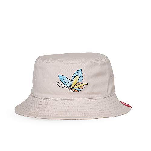Butterfly Hat Bucket - SYcore Cotton Embroidery Butterfly Fisherman Hat Bucket Cap for Girls Women Unisex Wear (Beige)