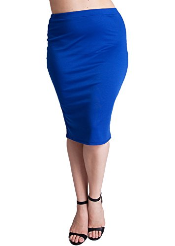 Woman Royal Blue Plus Size Banded Waistline Pencil Skirt