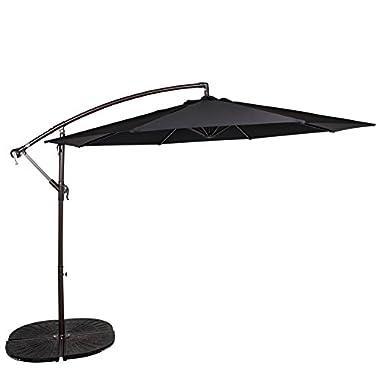 Sundale Outdoor 10 Feet Aluminum Offset Patio Umbrella with Crank, 8 Steel Ribs (Black)