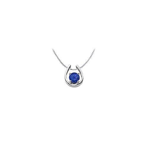 Sapphire Horseshoe Pendant 14K White Gold 1.00 CT TGW (Pendant Horseshoe Sapphire)