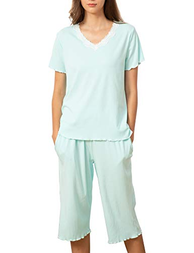 Onniel Women Pajamas Set Ruffle Seam Short Sleeves Nightgown Set Pj Lounge Sets Light Green S (The Man In The Iron Mask Flash)