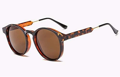 WSKPE Sonnenbrille Runde Sonnenbrille Frauen Männer Marke Design Transparente Weiblichen Sonnenbrille Männer (Gelb Schwarz Muster Gestell Grau Objektiv)