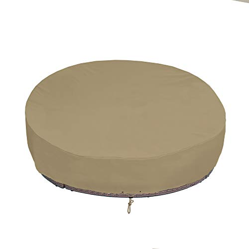 SunPatio Round Patio Daybed Cover 75 Inch, Outdoor Canopy Daybed Sofa Cover with Waterproof Sealed Seam, Fadestop, All Weather Protection, Taupe (Daybeds Outside)