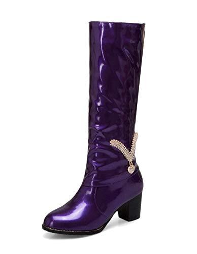 Bottes D'orteil Verni Tire Talon Femme tsfxh114712 À Fermeture Violet Correct Aalardom PH68qWw