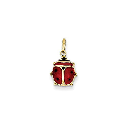 14k Yellow Gold Red Enameled Ladybug Charm ()