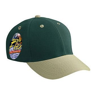 OTTO Flex Stretchable Wool Blend Twill 6 Panel Low Profile Baseball Cap - KHA/Dk.Grn