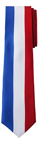 - Jacob Alexander France Country Flag Colors Men's Necktie - Vertical Blue White Red French Colors Design