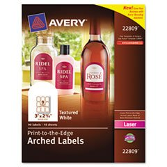 ** Textured Arched Easy Peel Labels, 3 x 2-1/4, White, 90/Pack **