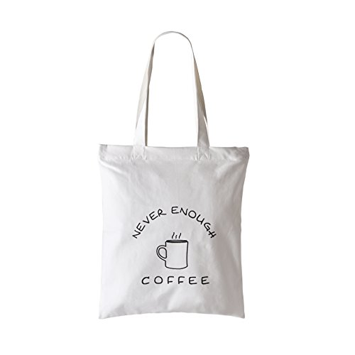 Waitworth Handmade 100% Cotton Canvas Tote Bag Reusable Grocery Bags with Zipper and Pocket Perfect for Cosmetic, Laptop, Shopping, Travelling and School Books, Never Enough Coffee