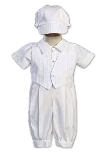 Romper Cotton Poly (Cotton-Poly Christening Romper and Embroidered Vest - Size XS (0-3 Months))