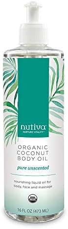 Nutiva Organic Coconut Body Oil Unscented, 16-ounce