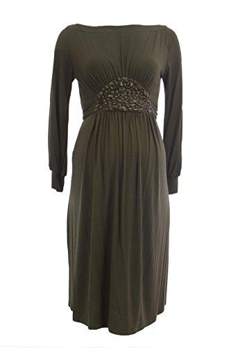 Olian Maternity Women's Jeweled Waist Boat Neck Dress Small Olive Green