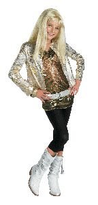 [Hannah Montana Costume Deluxe Gold - Child Large 10-12] (Miley Cyrus Disney Costume)