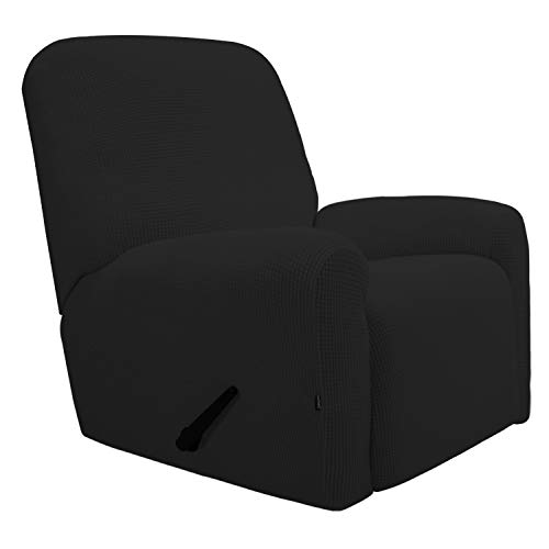 Easy-Going Recliner Stretch Sofa Slipcover Sofa Cover 4-Pieces Furniture Protector Couch Soft with Elastic Bottom Kids, Spandex Jacquard Fabric Small Checks(Recliner,Black)