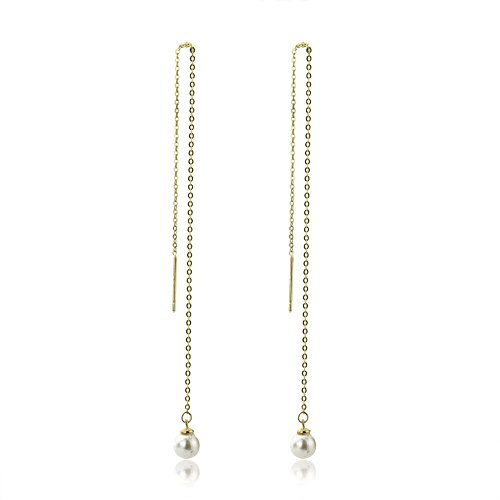 14K Yellow Gold Round 4mm Cultured Freshwater Pearl Threader Dangle Earrings