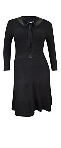 Tommy Hilfiger Women's Layered Ribbed Sweater Dress (L, Black) - New Tommy Hilfiger Womens Ribbed