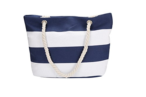 Stripe Beach Tote - Inpluer Women's Travel Tote Beach Bag with Large Capacity and Inner Zipper with Rope Handles Tote Bag … (Navy Blue)