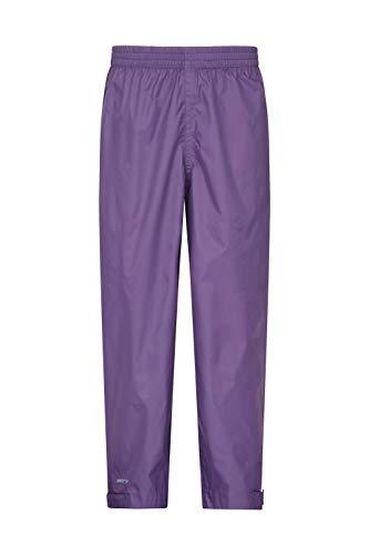 Mountain Warehouse Pakka Kids Rain Pants - Waterproof Overpants Purple 7-8 Years